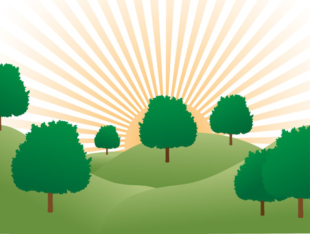Sunrise over tree covered hills Stock Vector - 5149910