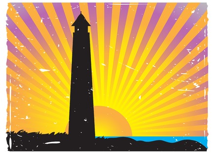 Silhouetted Lighthouse Sunset vector background Stock Vector - 5149911