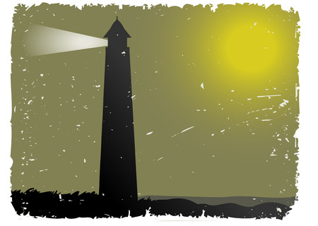 foggy: Grunge Foggy Night Lighthouse by ocean Illustration