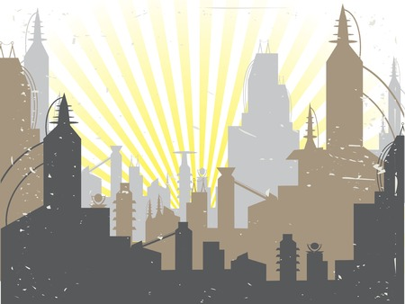 Scifi Grunge Future City sun rising - Vector Background Stock Vector - 5185687
