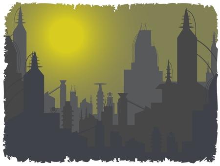 tranquil scene on urban scene: futuristic city below foggy sky