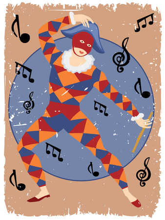 Masked Minstrel Costumed performer in harlequin suit dancing Vector