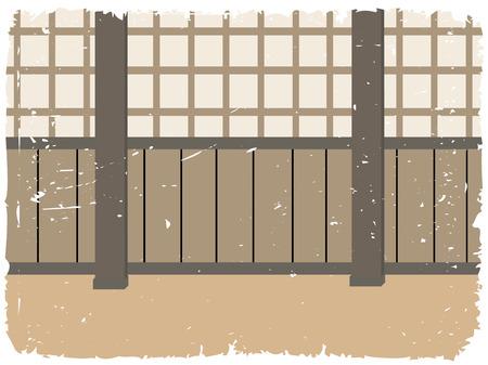 기둥이있는 도장 훈련실의 전통적인 무술 환경 일러스트