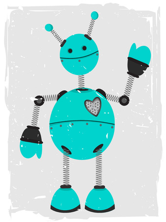 Adorable Robot Waving Illustration