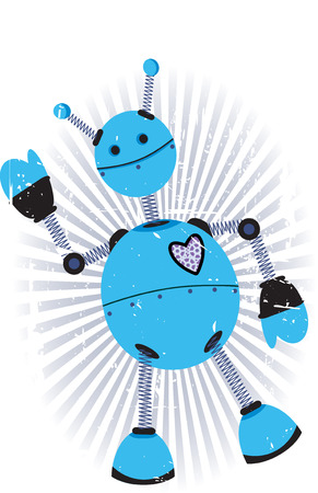 Robot Blue Purple Angled Waves Vector