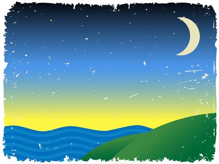 Twilight near hills next to ocean Stock Vector - 5244245