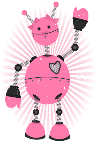 Female Robot accented with pink rays and grungy background
