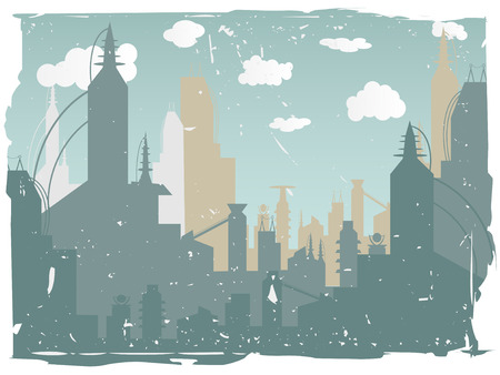 グランジ都市景観の荒い境界線  イラスト・ベクター素材
