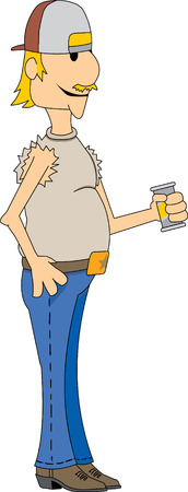 backwards: Southern man met hoed draagt het drinken van achteruit