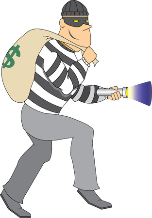 burglar man: Thief with bag of money and flashlight