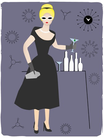 Cool retro 50s gal holding glass of alcoholic Stock Vector - 5330109