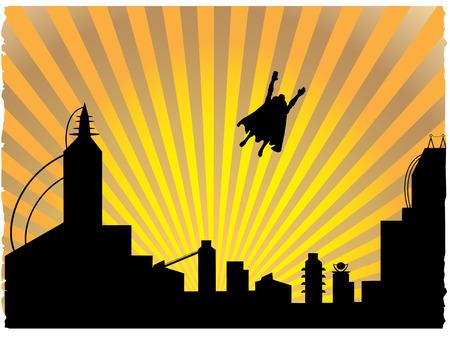 super human: Volando el h�roe dejando la ciudad Silhouetted por grandes rayos sunset
