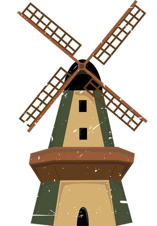 windm�hle: Einzelne traditionelle Windm�hle in Schattierungen von Gr�n und Braun mit Grunge splatter Illustration