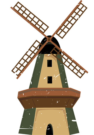 windmills: Single traditional windmill in shades of green and brown with grunge splatter