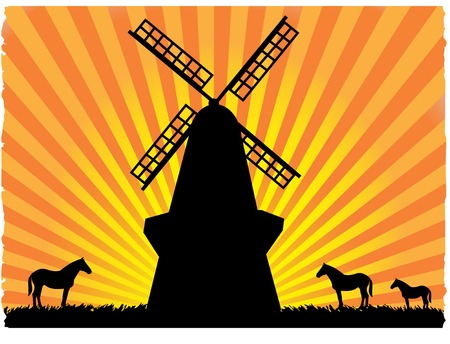 Silhouetted horses in field standing next to windmill Stock Vector - 5355301
