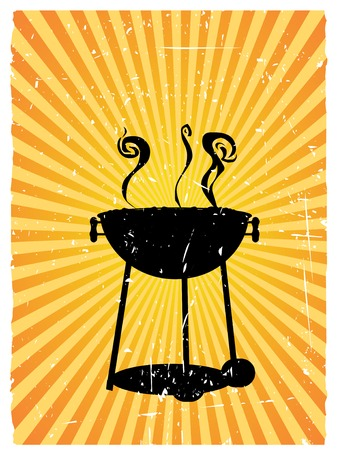 bbq: Smoking bbq cooker vector background with rough edges