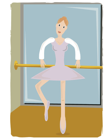 pole dancer: Dancer in studio practicing ballerina steps with pole and mirror