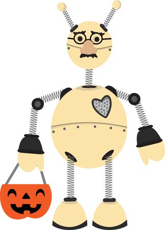 Child robot carrying pumpkin candy basket and wearing mask