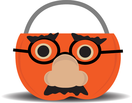 groucho: Comical Groucho Glasses on top of orange traditional halloween candy carrier Illustration