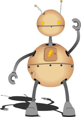 Round retro beat up Robot Illustration