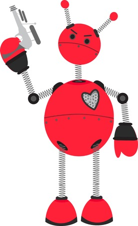 Angry Red Robot holding Ray Guy  Stock Vector - 5490485