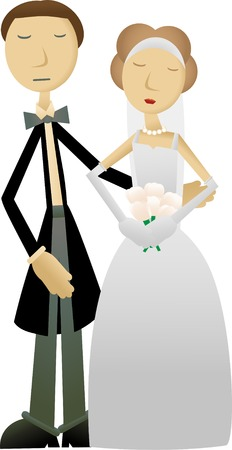 Groom and Bride posing together Vector