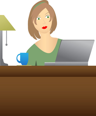 Woman sitting at desk looking at laptop Stock Vector - 5518372