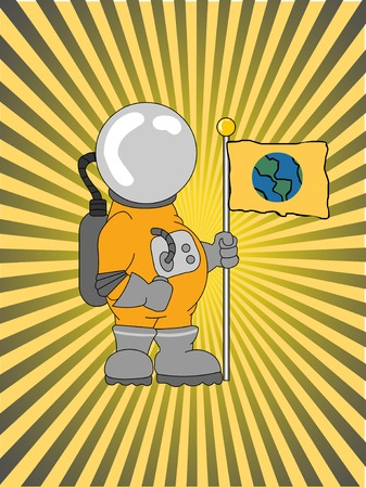 Astronaut Holding a Flag ray beam glowing background Illustration