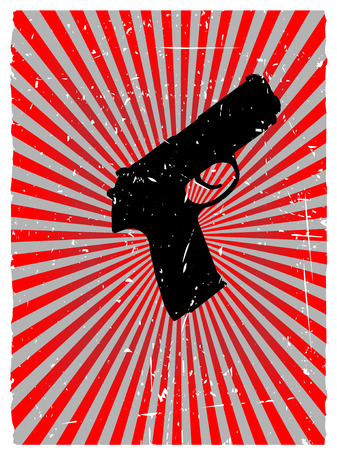 danger: Grunge gun danger red glowing vector background Illustration