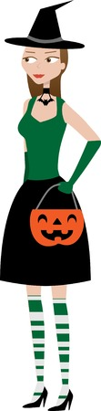 Halloween Witchy Woman holding pumpkin candy holder Stock Vector - 5581373
