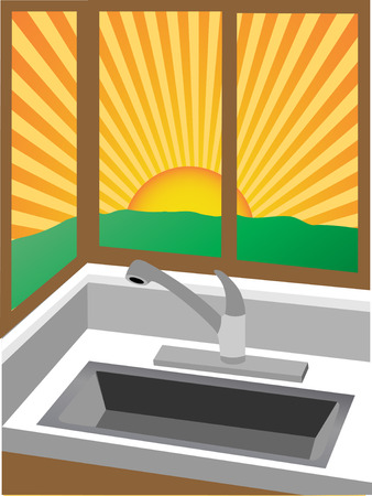 Sunrise through corner windows near sink