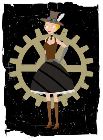 Steampunk woman on gear grunge vector background Ilustrace