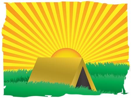 the rising sun: Rising Sun detrás de acentuado con frontera grungy  Vectores