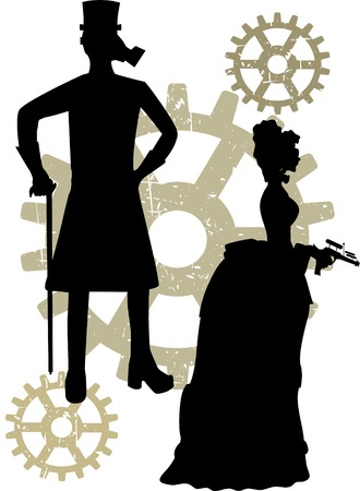 Silhouettes of Steampunk neo Victorians accented by grungy gear