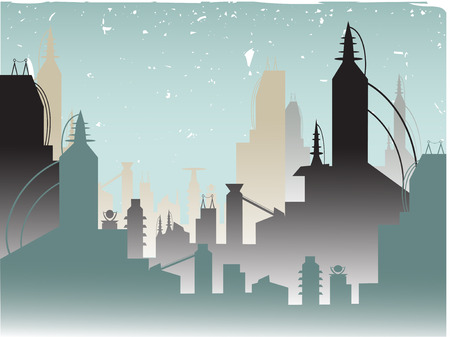 Stylized Urban Landscaped accented by grungy sky Stock Vector - 5655500