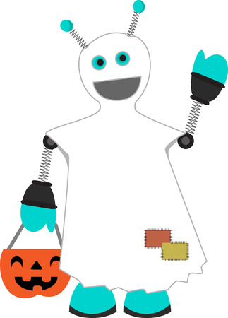 springy: Halloween Costume Wearing Robot happily wearing ghostly sheet trick_or_treating