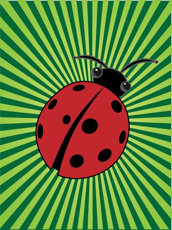 Cartoon insect ladybug center of glowing bright green sunny beams