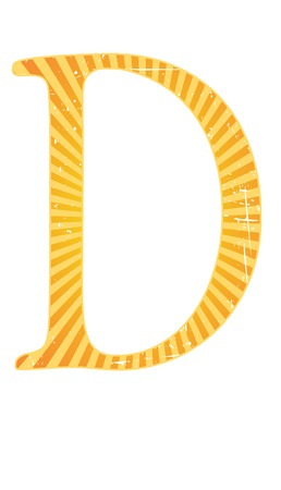 grainy: Alphabet grungy grainy letter bright colorful D Illustration
