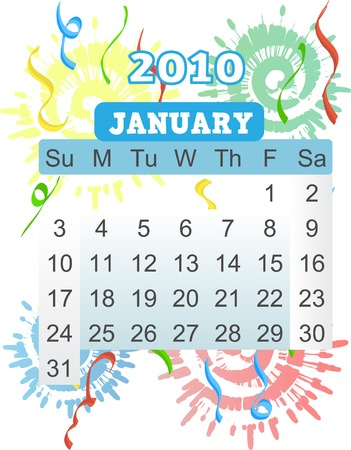 event planner: January calender 2010 Sunday starting monthly bright vector illustration