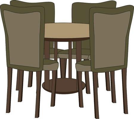 modern interior: Table with four chairs Illustration