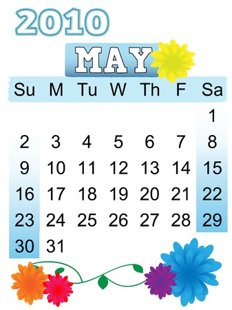 May Monthly Calendar 2010 begins on Sunday
