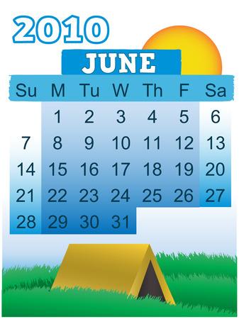 June 2010 Month Calendar Summer Camping theme Stock Vector - 5839592