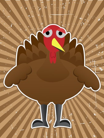 Sad turkey surrounded by rough brown ray beam back Illustration