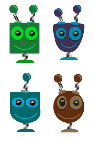 robot cartoon: Adorable cute cartoon Robot Heads set of 4 Illustration