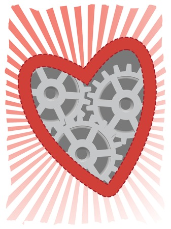 Clockwork heart accented by red ray beams