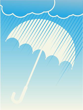 Rain Clouds Umbrella Blue Background Ilustração