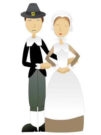 Action de grâces Pilgrim Couple permanent ensemble Banque d'images - 5920092