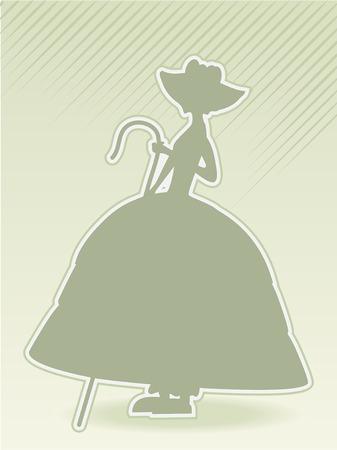 bo: little bo peep green silhouette vector