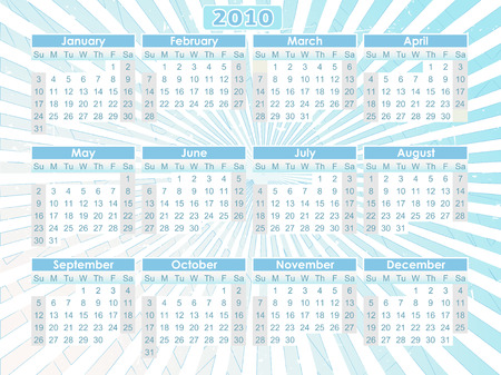 Sunday start orange 12 month calendar