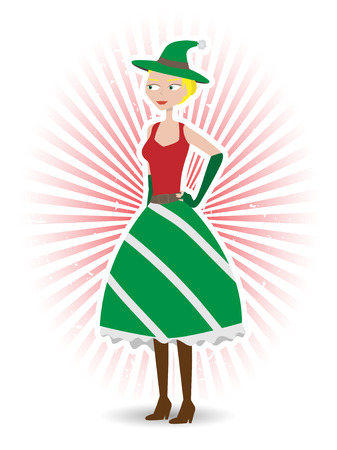 tanktop: Happy Elf female in red and green dress with boots, ray beam background Illustration